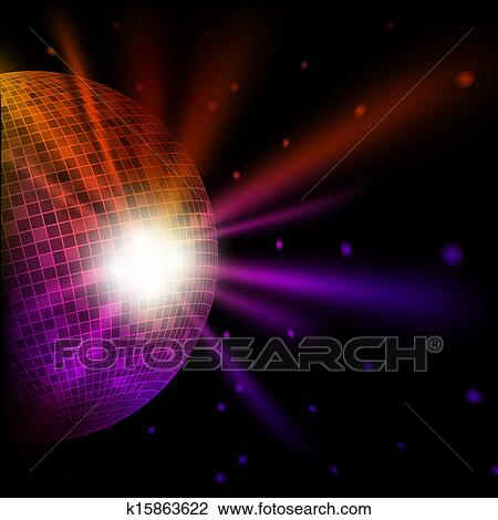 clipart of abstract colorful background with disco bal k15863622