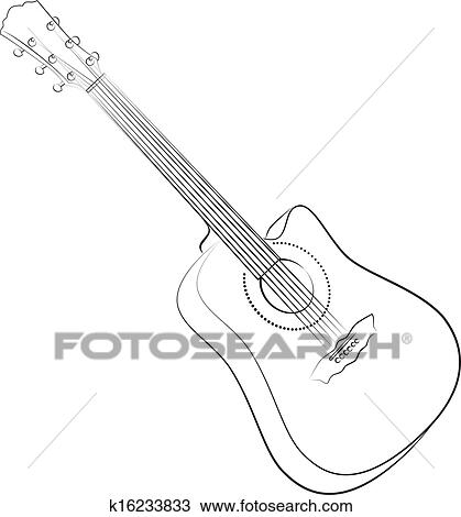 Clipart Of Acoustic Guitar Vector Illustration Colorless K16233833