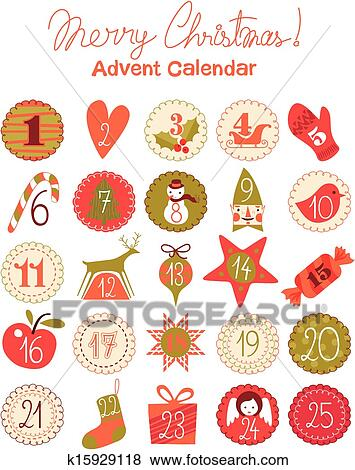 Clip Art Of Advent Calendar K15929118 Search Clipart Illustration
