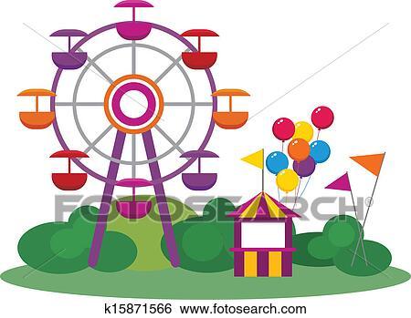 clip art of amusement park k15871566 search clipart illustration rh fotosearch com park clipart blak and white park clipart border