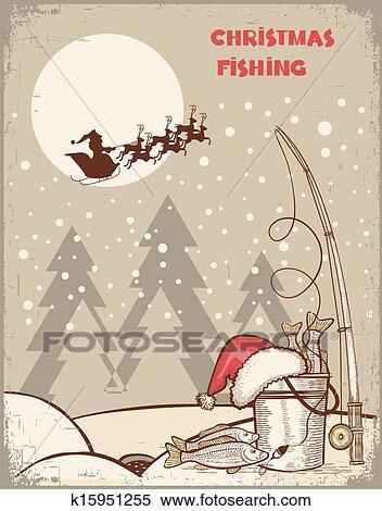 Vintage Bilder Weihnachten.Angler In Weihnachten Night Vintage Winterbilder Bild Mit Weihnachtsmänner Clipart