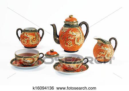Chinese Tea Set With Dragon Motif