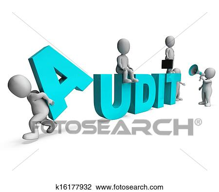 audit characters showing auditors auditing or scrutiny
