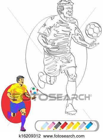 Ausmalbilder Sketch Fussballspieler Clipart K16209312
