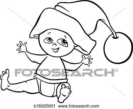 Clipart Of Baby Boy Santa Cartoon Coloring Page K16520501 Search