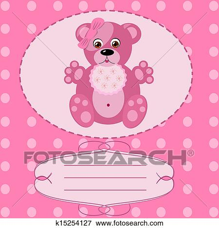 Clip Art Of Baby Girl Greeting Card Vector Background K15254127