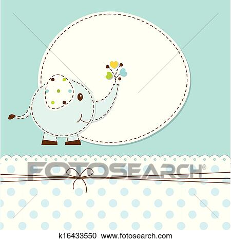 Baby Shower With Elephant Clipart K16433550 Fotosearch