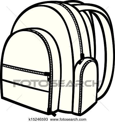 clipart of bag pack backpack school bag k15246593 search clip rh fotosearch com unpack school bag clipart unpack school bag clipart