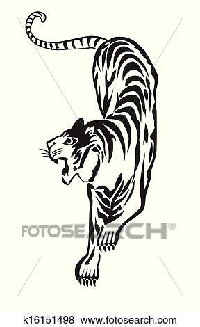 clip art of big bengal tiger k16151498 search clipart rh fotosearch com Bengal Tigers Football bengal tiger clip art free