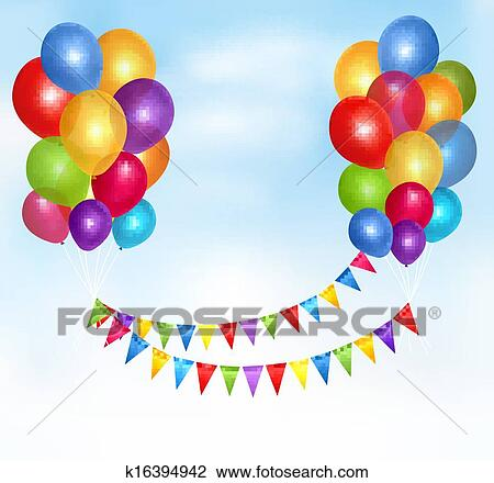 Birthday Balloons Frame Composition With Space For Your Text Vector Illustration