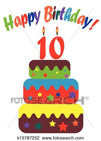 Clipart Of Birthday Card For Ten Years K15787252 Search Clip Art