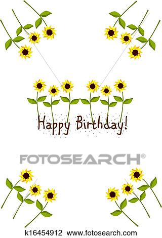 Clipart Of Birthday Card With Sunflowers K16454912 Search Clip Art