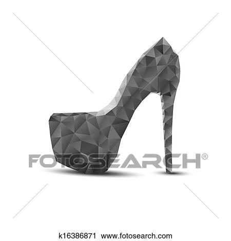 Clipart Of Black Abstract Woman Shoes On High Heels K16386871