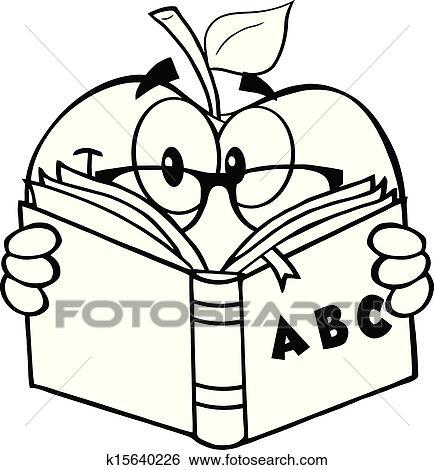 clip art of black and white apple teacher k15640226 search clipart rh fotosearch com clip art teacher black and white