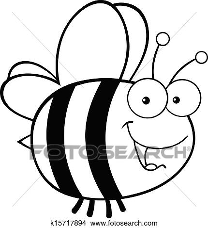 Black And White Cute Bee Clipart