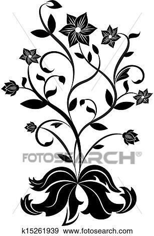Clip art of black and white flower design element k15261939 black and white flower design element mightylinksfo