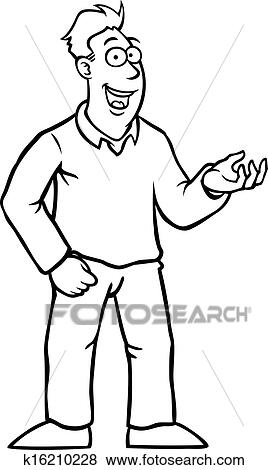Black And White Man With Thumbs Up Clip Art K16210228 Fotosearch