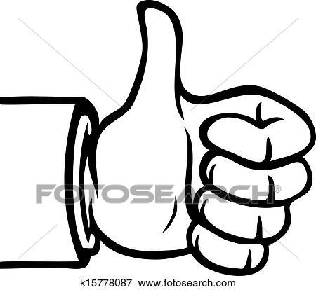 Black And White Thumbs Up Clip Art K15778087 Fotosearch