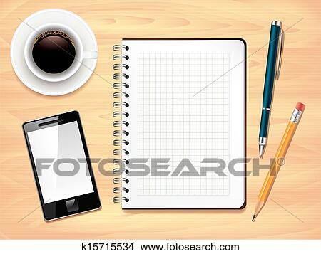 Clipart Bloc Notes Sur Bureau Bureau Vue Dessus Photo