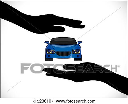 clip art blue car insurance protection hand fotosearch search clipart illustration