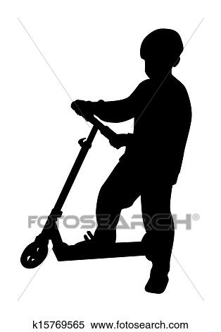 boy rides scooter vector clipart k15769565 fotosearch https www fotosearch com csp994 k15769565