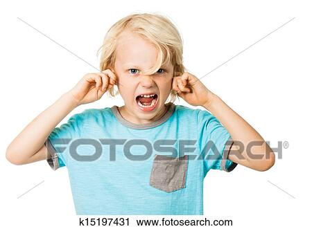stock photography of boy screaming and blocking ears k15197431