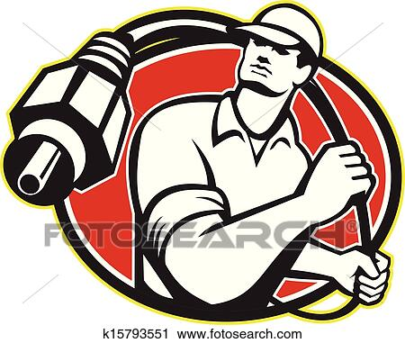 Clipart Of Cable Tv Installer Guy K15793551