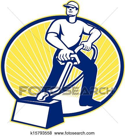 clip art of carpet cleaner vacuum cleaning machine retro k15793558 rh fotosearch com  steam carpet cleaning clipart