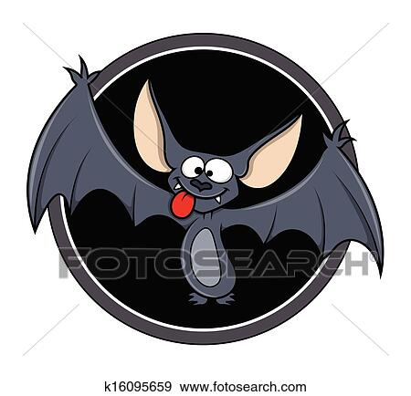 Cartone animato pipistrello con bolla di pensiero u vettoriali