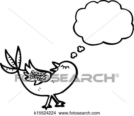 Clipart Of Cartoon Bird With Thought Bubble K15524224