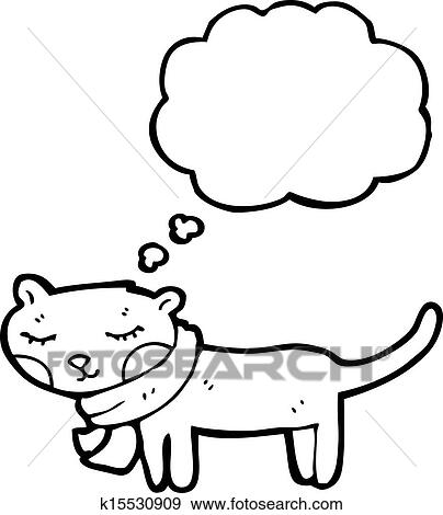 Clip Art Of Cartoon Cat With Thought Bubble K15530909