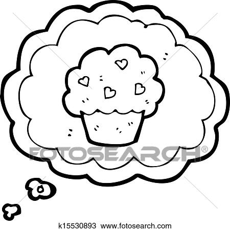 Clipart Of Cartoon Cupcake In Thought Bubble Symbol K15530893