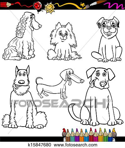 Clipart Of Cartoon Dog Breeds Coloring Page K15847680