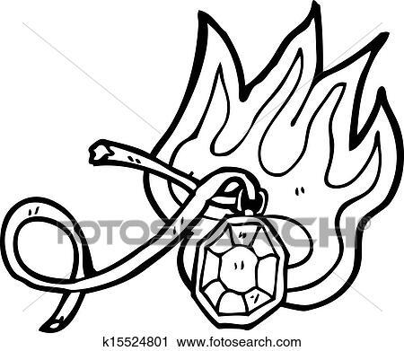 Clipart Of Cartoon Flaming Gem K15524801
