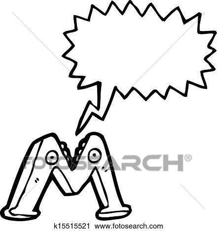 Clipart Of Cartoon Letter M K15515521