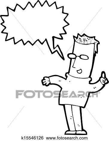 Clip Art Of Cartoon Man Answering Question K15546126