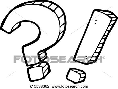 Clipart Of Cartoon Question Mark And Exclamation Mark K15538362