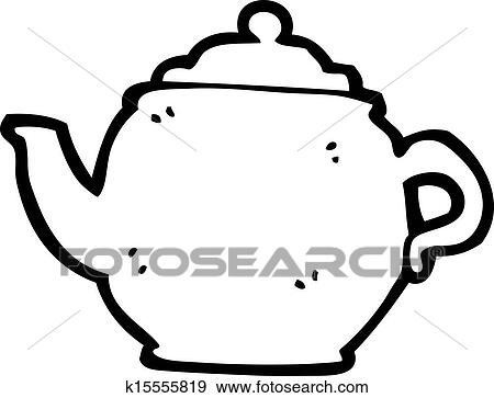 Clip Art Of Cartoon Teapot K15555819 Search Clipart Illustration