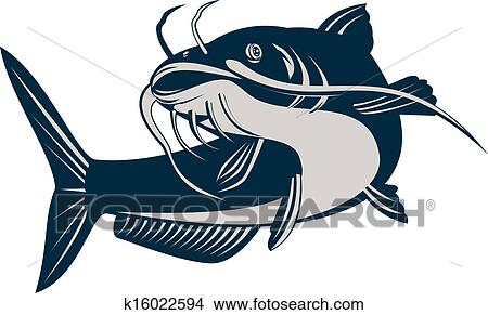 drawings of catfish jumping k16022594 search clip art