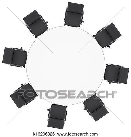 Chaises Bureau Et Table Ronde Banque DIllustrations