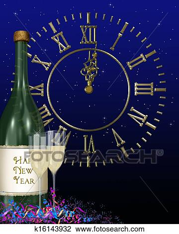 bottle of champagne and clock for new years eve celebration