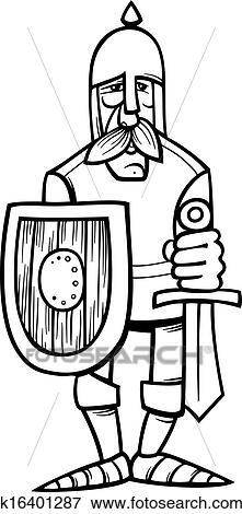 Clipart chevalier dans armure dessin anim coloration page k16401287 recherchez des - Dessin armure ...
