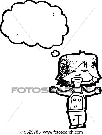 Clipart Of Child With Thought Bubble K15525785
