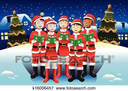clip art of children singing in christmas choir k16006457 search rh fotosearch com Nativity Scene Silhouette Clip Art Religious Christmas Clip Art