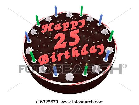 Peachy Chocolate Cake For 25Th Birthday Stock Illustration K16325679 Funny Birthday Cards Online Inifofree Goldxyz