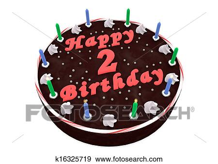 Stupendous Chocolate Cake For 2Nd Birthday Stock Illustration K16325719 Funny Birthday Cards Online Inifodamsfinfo