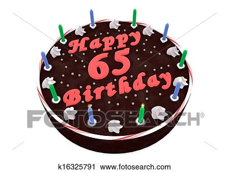 Fabulous Chocolate Cake For 65Th Birthday Clip Art K16325791 Fotosearch Personalised Birthday Cards Cominlily Jamesorg