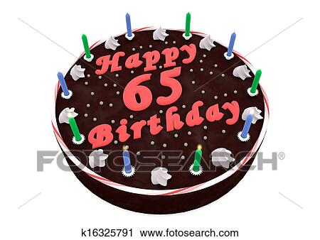 Outstanding Chocolate Cake For 65Th Birthday Clip Art K16325791 Fotosearch Personalised Birthday Cards Veneteletsinfo
