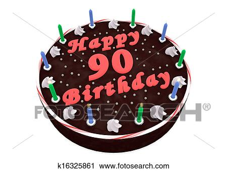 Awe Inspiring Chocolate Cake For 90Th Birthday Clip Art K16325861 Fotosearch Funny Birthday Cards Online Inifofree Goldxyz