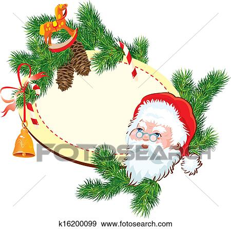 christmas and new year background santa claus head fir tree branches pine cones and accessories oval frame with empty space for text